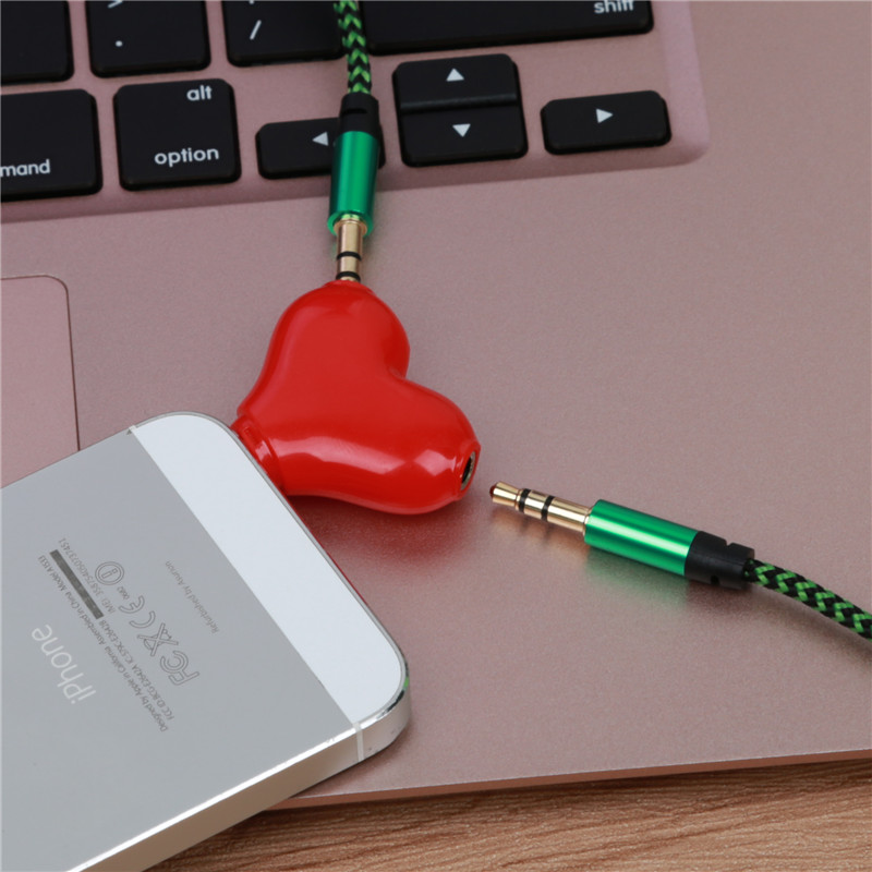 Mini Cute 1 to 2 Heart-shaped 3.5 Jack Aux Audio Cable Earphone Music Share Splitter for Apple iPhone 6 6s iPad iPod MP3 speaker mini cute 1 to 2 heart shaped 3 5 jack aux audio cable earphone music share splitter for apple iphone 6 6s ipad ipod mp3 speaker