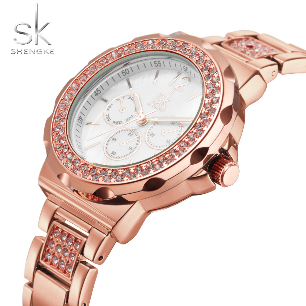 SK Women Watches Top Brand Luxury Rose Gold Stainless Steel Strap Quartz Watch 2018 Elgant Dress Wristwatch Montre Femme Gift rhinestone sk top luxury brand steel quartz watch fashion women clock female lady dress wristwatch gift silver gold motre femme
