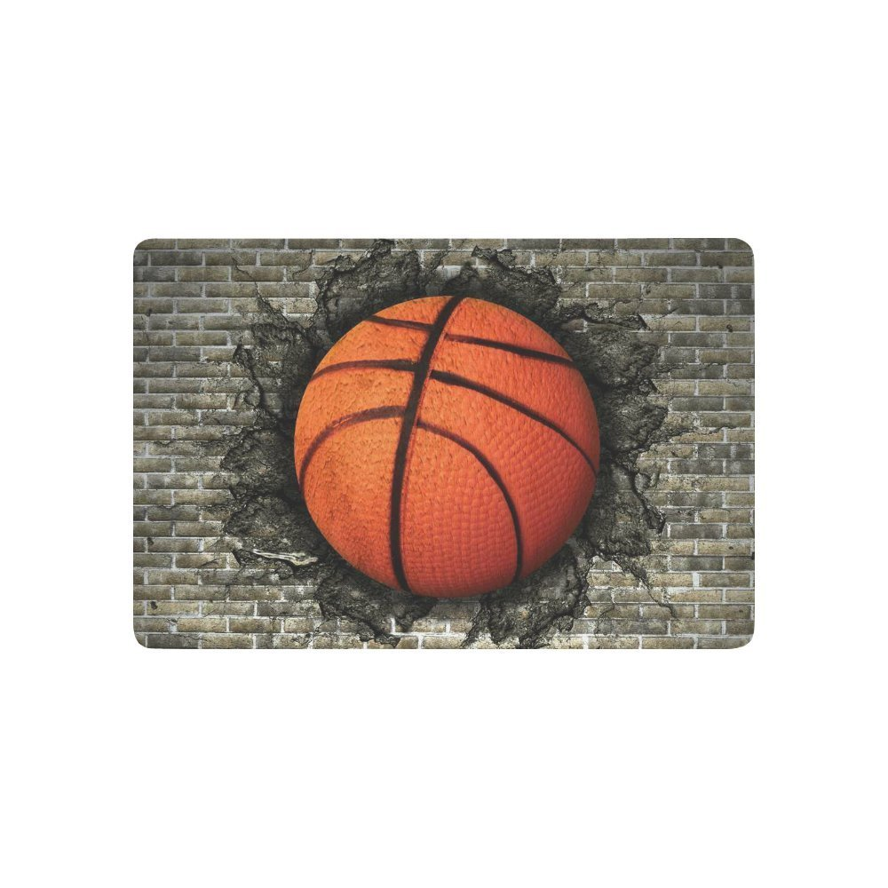 a Basketball Embedded in a Brick Wall Anti-slip Door Mat Home Decor, Sports Indoor Outdoor Entrance Doormat Rubber Backing