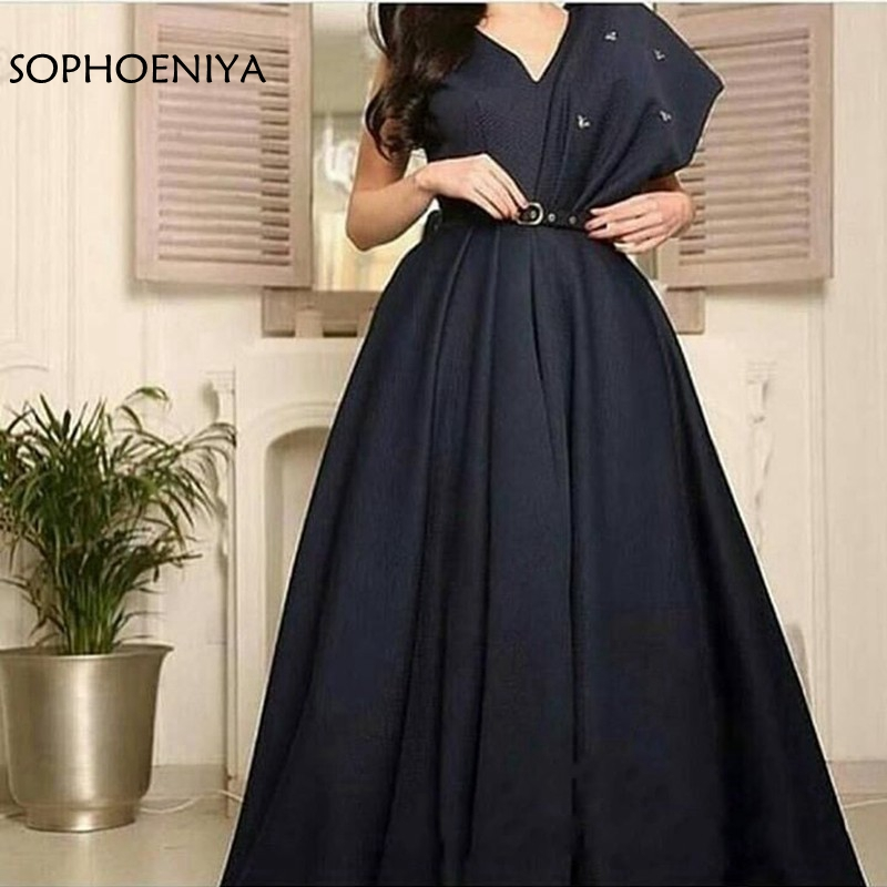 New Arrival V Neck Black   Evening     dresses   2019 abiye ever pretty Cheap   evening   gowns vestido longo festa Arabic long   dress