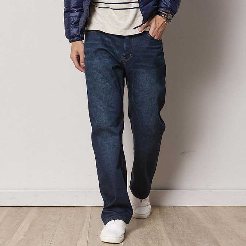 Winter Thicked Jeans Mens Straight Loose Jeans Denim Fleece Denim Blue Leisure Trousers Autumn Man Botton Plus Size 46 48 купить