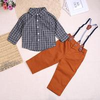 Baby Boy Clothes Newborn Clothing Sets Broad Cloth Baby Boy Gentleman Fashion Plaid T Shirt Overalls