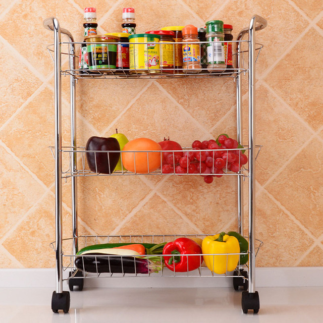 Kitchen Organizer Three Layers Storage Rack Fruits Vegetables Cooking Utensils Storage Organization Holder Shelves with Wheels