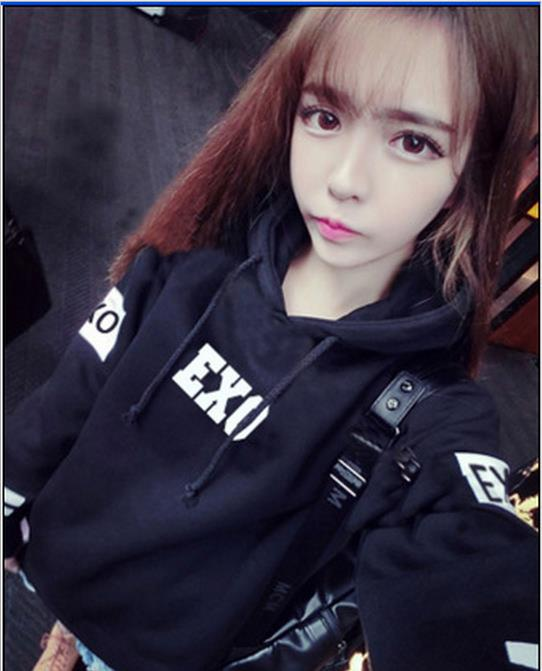 Kpop exo 2017 new autumn long sleeve black hooded women hoodies clothing coverage exo k-pop jumpers student Outerwears coat