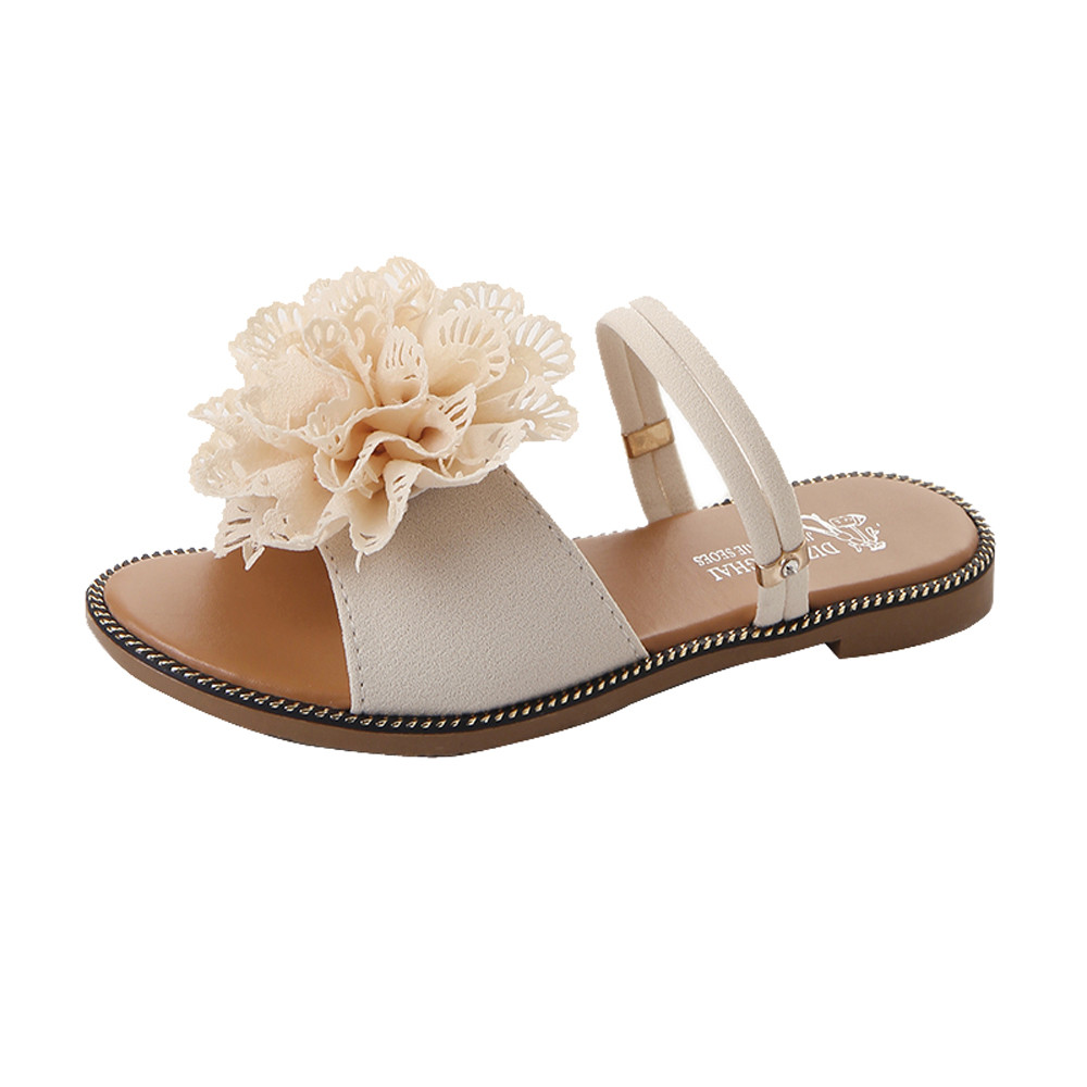 xiniu Women Summer Solid Color Flower Flat Heel Sandals Slipper Beach shoes Personality Flats Women 2018 Fashion Casual Sandals instantarts women flats emoji face smile pattern summer air mesh beach flat shoes for youth girls mujer casual light sneakers
