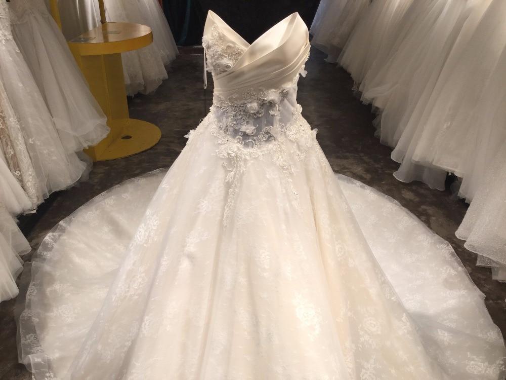 A-line Spets Bröllopsklänningar med Court Train 2018 V-Neck - Bröllopsklänningar - Foto 3