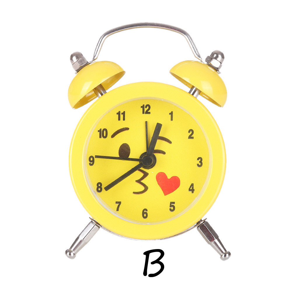 Fancy Emoji Emoticon Twin Bell Silent Alloy Stainless Metal Cute&Funny Yellow Alarm Cloc ...