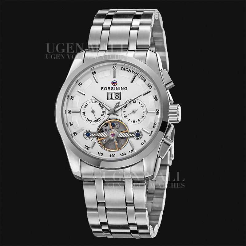 NAVIGATOR Series Tourbillon Date Month Display Transparent Case Back Luxury Stainless Full Steel Men Mechanical Watch