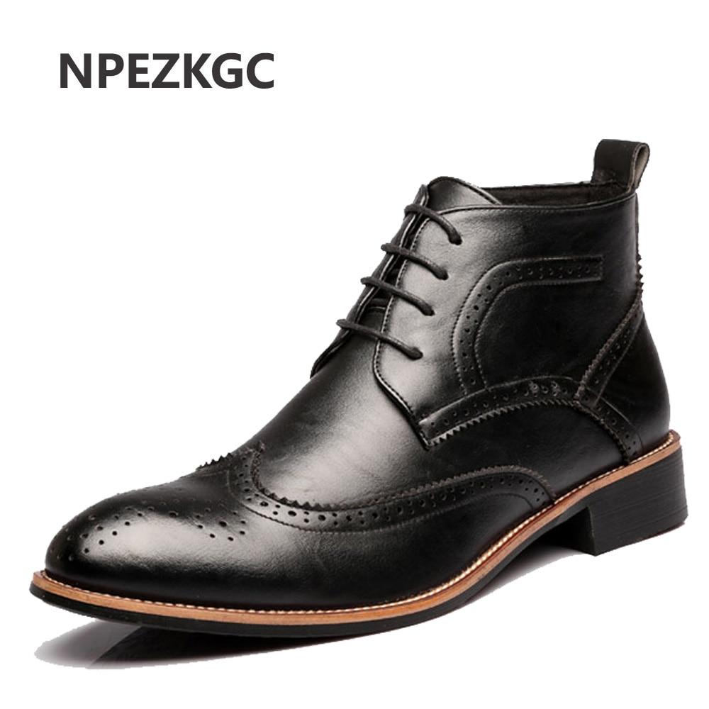 NPEZKGC Men Chelsea Boots Casual Leather Spring Autumn Bullock Ankle Boots Fashion Male Genuine Leather Men Shoes