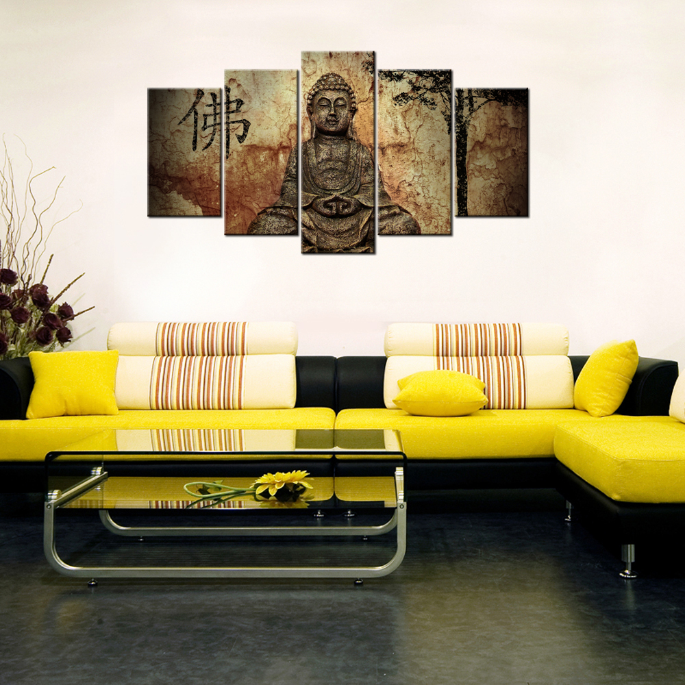 5Piece Modern Home Decorative Painting Buddha Statue Canvas HD ...
