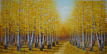 Hand Painted Thick Knife Abstract Oil Painting on Canvas Tree Forest Landscape Canvas Painting Wall Art Picture for Living  Room