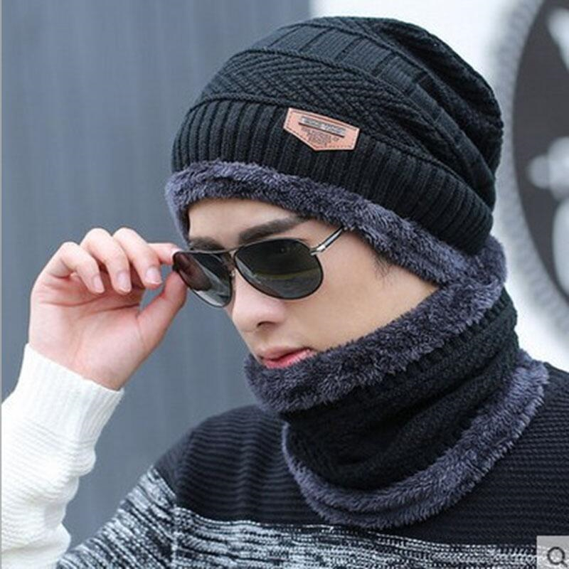 2017 Winter Beanie Burst Knitted Hat Men's Autumn And Winter Models Two-piece Ladies Hats Cap Winter Men  Winter Hat Balaclava