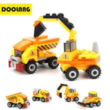 4pcs lot Engineering Truck Building Blocks Set Toy Car City Construction Enlighten Education Assembly Toys Excavator