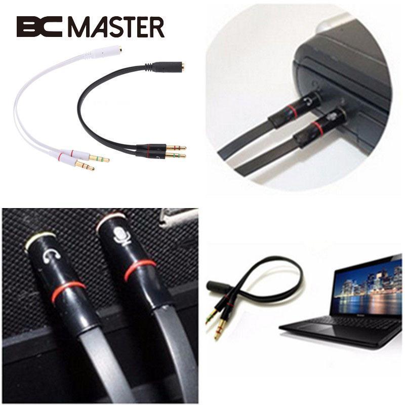 BCMaster 3.5mm Y Splitter 2 Male to 1 Female Plug Speaker Mic Audio Adapter Cable Compact Professional Audio Video Cables
