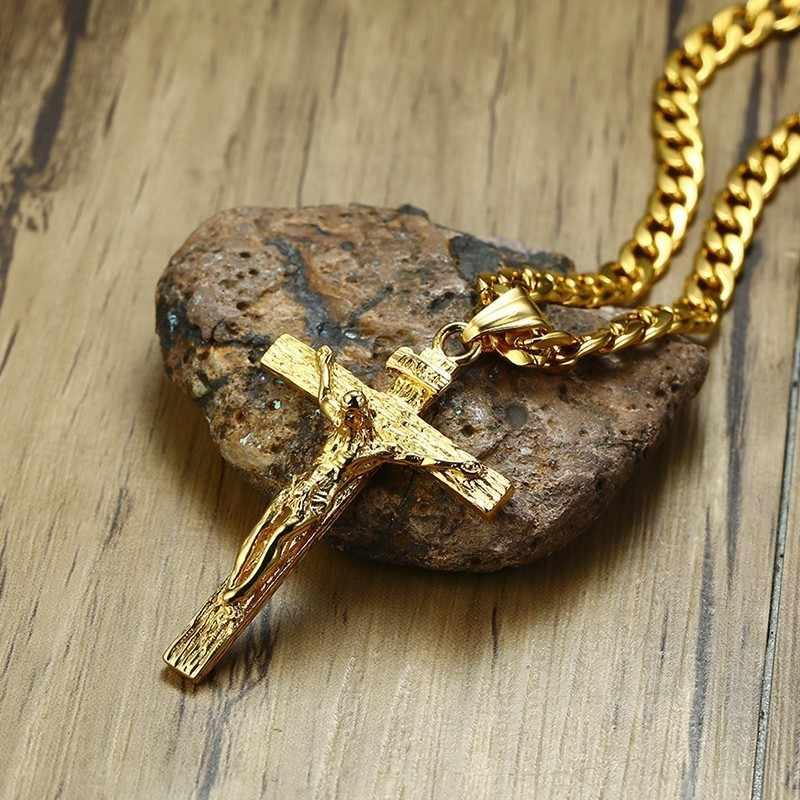 Złoty Tone krzyż jezus ze stali nierdzewnej stalowy wisiorek naszyjnik Hip Hop kubański w kubański Link krucyfiks naszyjnik 24 w