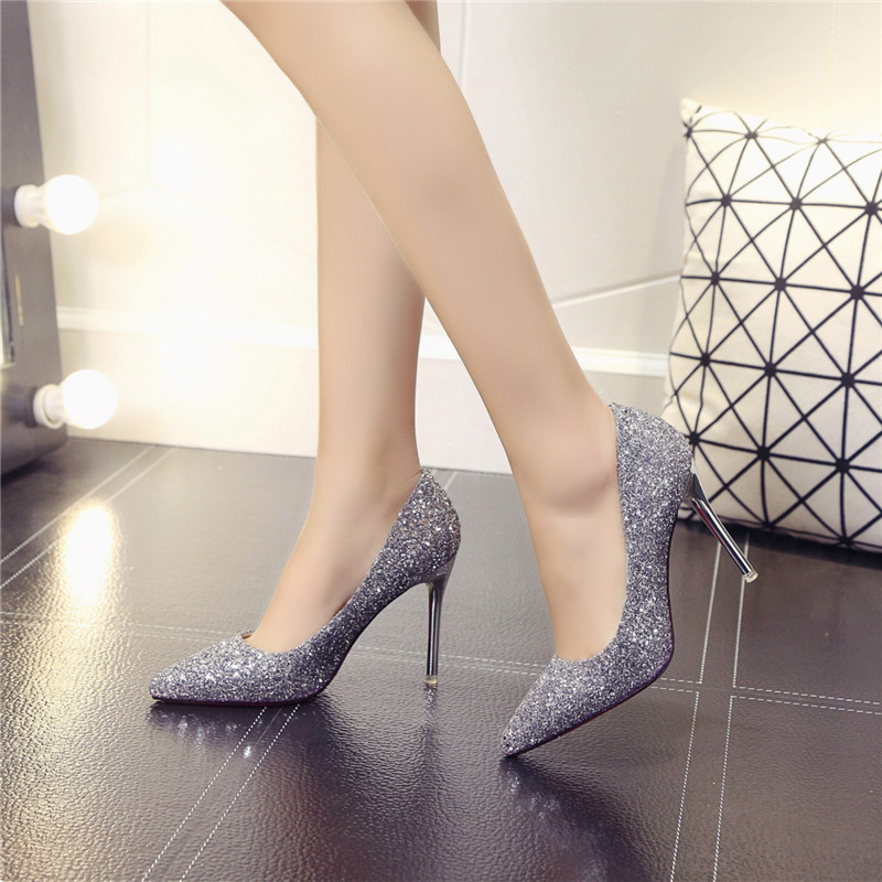 new sexy party women high heel pumps solid fashion pink silver shoes thin heel 10 cm slip on wedding heels bling spring autumn new 2017 spring autumn plus size red wedding shoes for woman high heels pumps bowknot mid heel women sexy stiletto heel slip on
