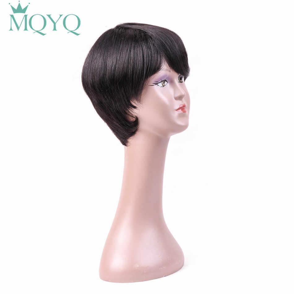 MQYQ прямой короткий натуральные волосы парики с волосами младенца взрыва не Реми Полный натуральные волосы парик для черный Для женщин Размеры Регулируемый 7905