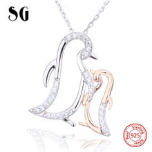 Highly recommend cute penguin mom&child chain pendant&necklace 925 sterling silver diy fashion jewelry making for women gifts