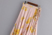 Fashion 2019 Summer Women Floral Print Flowing Sarong Bohemian Skirt Casual Front Crossover Hem Asymmetric Ruffle Maxi Skirt