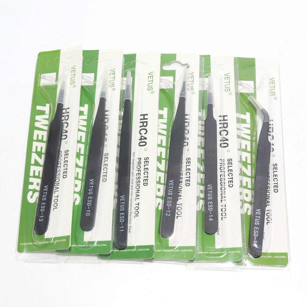 100% Original VETUS Anti-static Stainless Steel Tweezers ESD-10/11/12/13/14/15