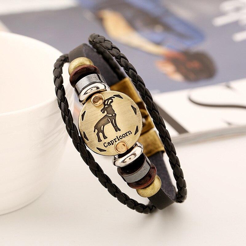 12 Zodiac Signs Ox Bone Bracelet Adjustable, Women Men Constellation Leather Bracelet ...