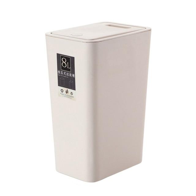 Modern Design 8L Plastic Trash Can Pressing Cover Design Home Kitchen Office  Waste Bin Sitting Room