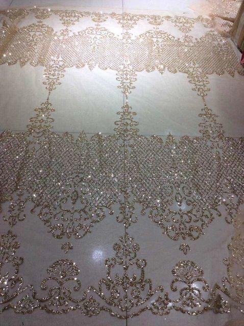 Glitter Trouwjurk.Promo Gold Shining Gelijmd Glitter Net Mesh Ademend Kant Stof Voor