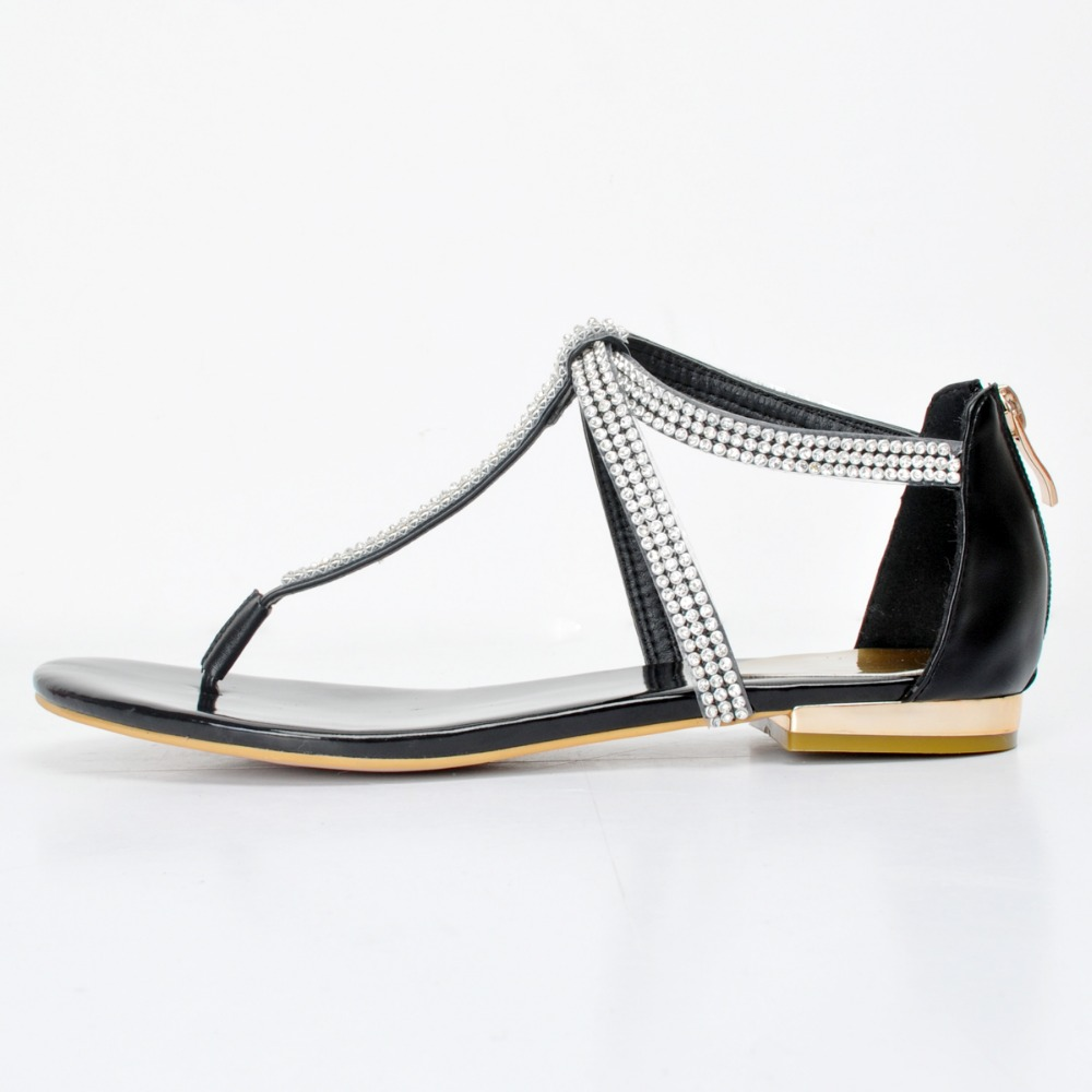 ФОТО New Stylish Women Sandals Fashion T-Strap Flat with Sandals Beautiful Black Patent Leather Shoes Woman Plus US Size 4-15