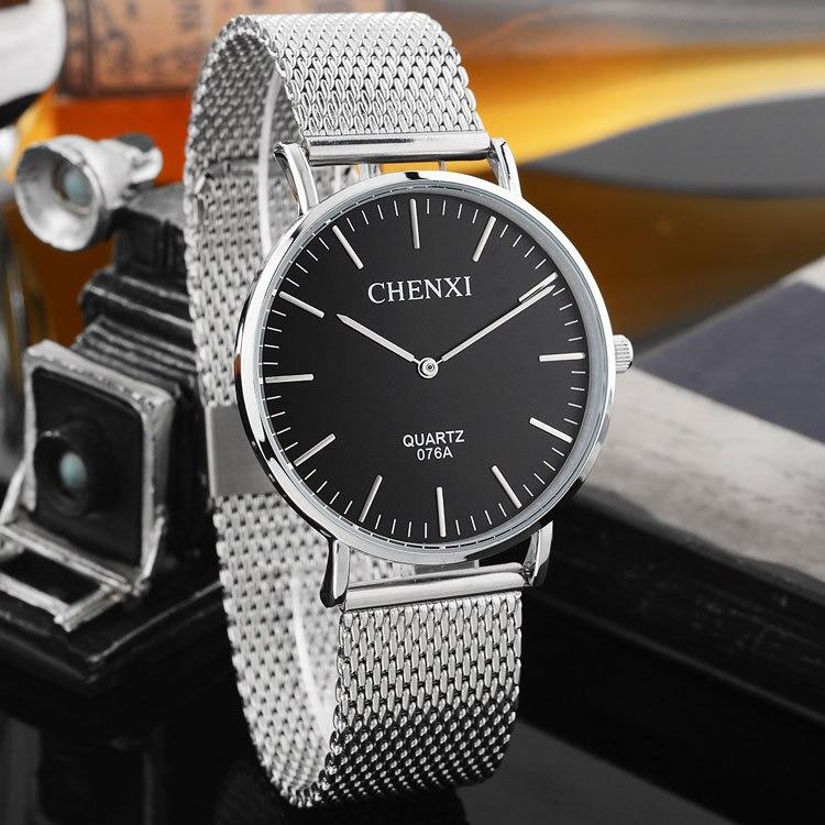 The Latest CHENXI Full Stainless Steel Black Blue White Quartz Wrist Watch Men Male Wristwatches 1pc/lot Wholesale 076A OP001