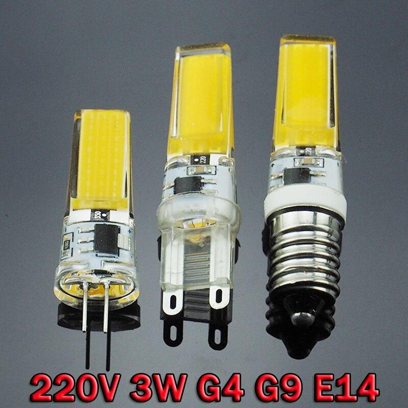 G9 G4 E14 LED 220V 3W Dimmable LED Lamp 2508 SMD COB Spotlight Bulb Lamp Light 360 Beam Angle Chandelier Replace Halogen ZK50