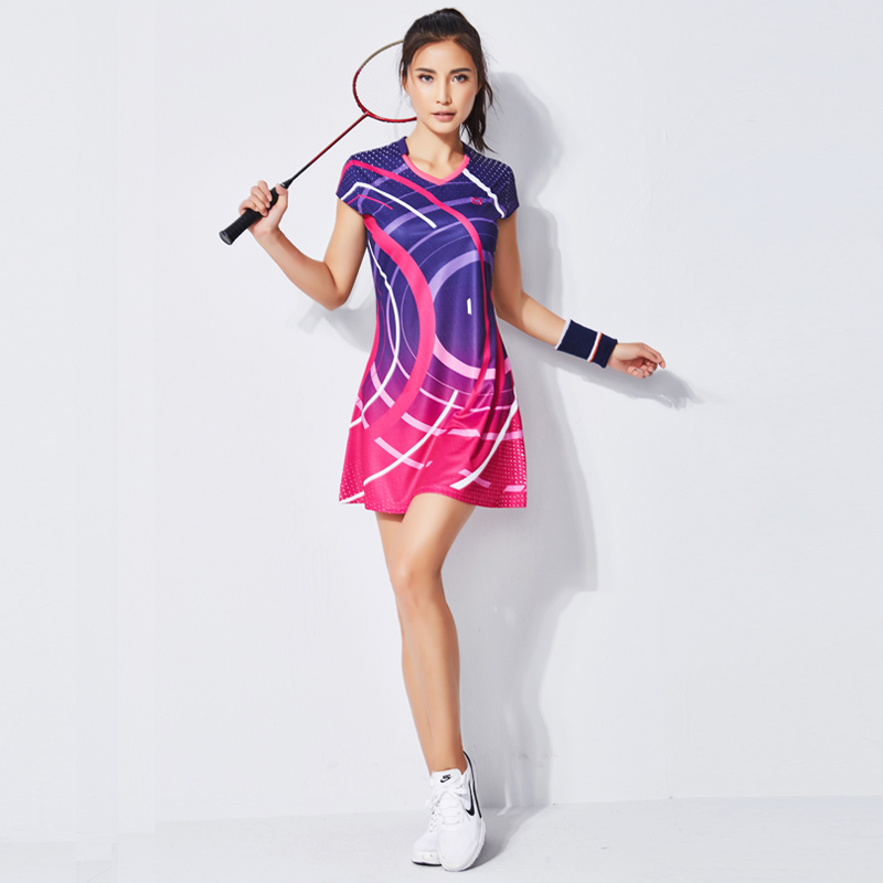 Summer Badminton Dress Women s Suit Short sleeved Quick drying Badminton Wear Sports Clothing Tennis Dress