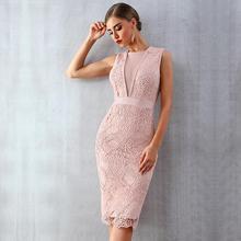 Женское вечернее облегающее платье знаменитости, кружевное Клубное платье без рукавов с круглым вырезом, сексуальное платье для вечеринок