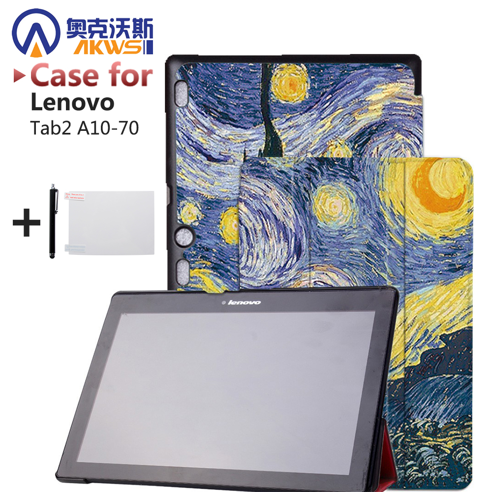 Fouda cover case for Lenovo tab 2 a10-70 10.1 tablet case PU leather cover for lenovo tab2 A10 70+screen protector+ pen case for lenovo tab 4 10 plus protective cover protector leather tab 3 10 business tab 2 a10 70 a10 30 s6000 tablet pu sleeve 10