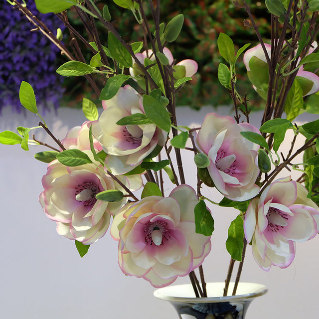 Artificial Magnolia Flower Plant Home Decorations Artware False Blossom Wedding Supplies