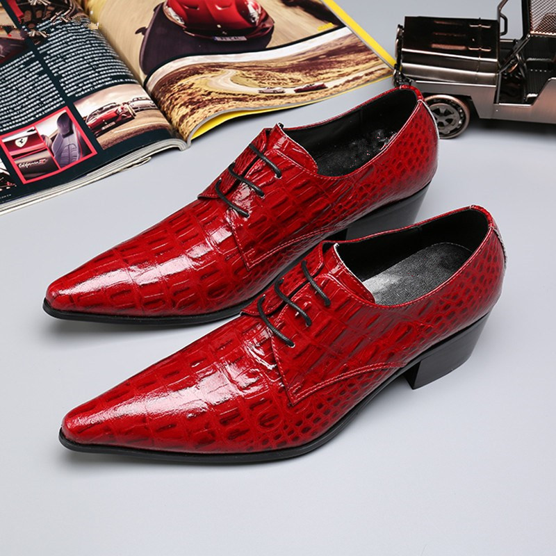 Red Cross-tied Pointed Toe Genuine Leather Lace Up Waterproof Men Casual Shoes Dress Party Height Increasing Wedding Shoes elanrom summer men formal derby wedding dress shoes cow genuine leather lace up round toe latex height increasing 30mm massage
