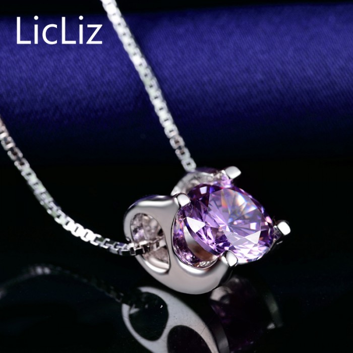 LicLiz 925 пробы серебряный пасьянс подвески для женщин белый желтый фиолетовый кубический цирконий подвески для ожерелья медальон без цепи LP0214 - Цвет камня: Purple Zircon