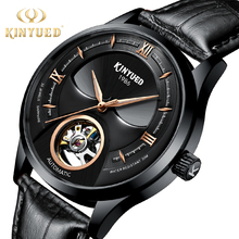KINYUED New Skull Automatic Men Wrist Watch 2019 Tourbillion Self Winding Mens Mechanic Watches Leather Sports Army reloj hombre