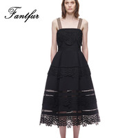 Self Portrait Runway Lace Dress For Women New Summer Bow Strap Guipure Lace Midi Dress Hollow