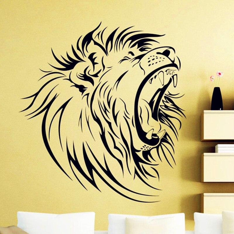 Lion Head Wall Sticker Africa Wild Animals Nursery Vinyl Decal Home ...