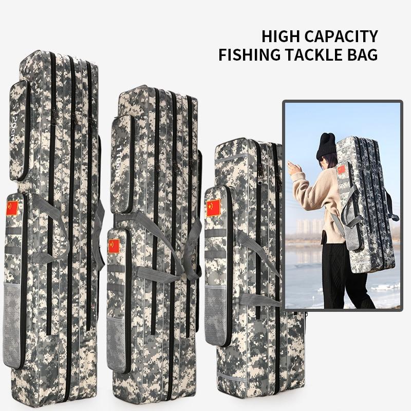 2 3 Layer 80 90 100 110 120 125cm Fishing Bag Oxford Cloth Fishing Rod Reel Bag Fishing Tackle Storage Bag Travel Bags XA86G in Fishing Bags from Sports Entertainment
