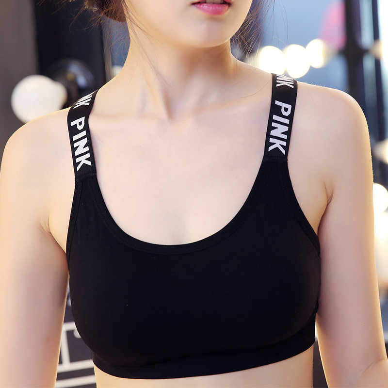 885b6eeb11fb5 Women Yoga Bra Pink Alphabe Fitness Women Sport Bra Top Yoga Brassiere Gym  Bra Breathable Bralette
