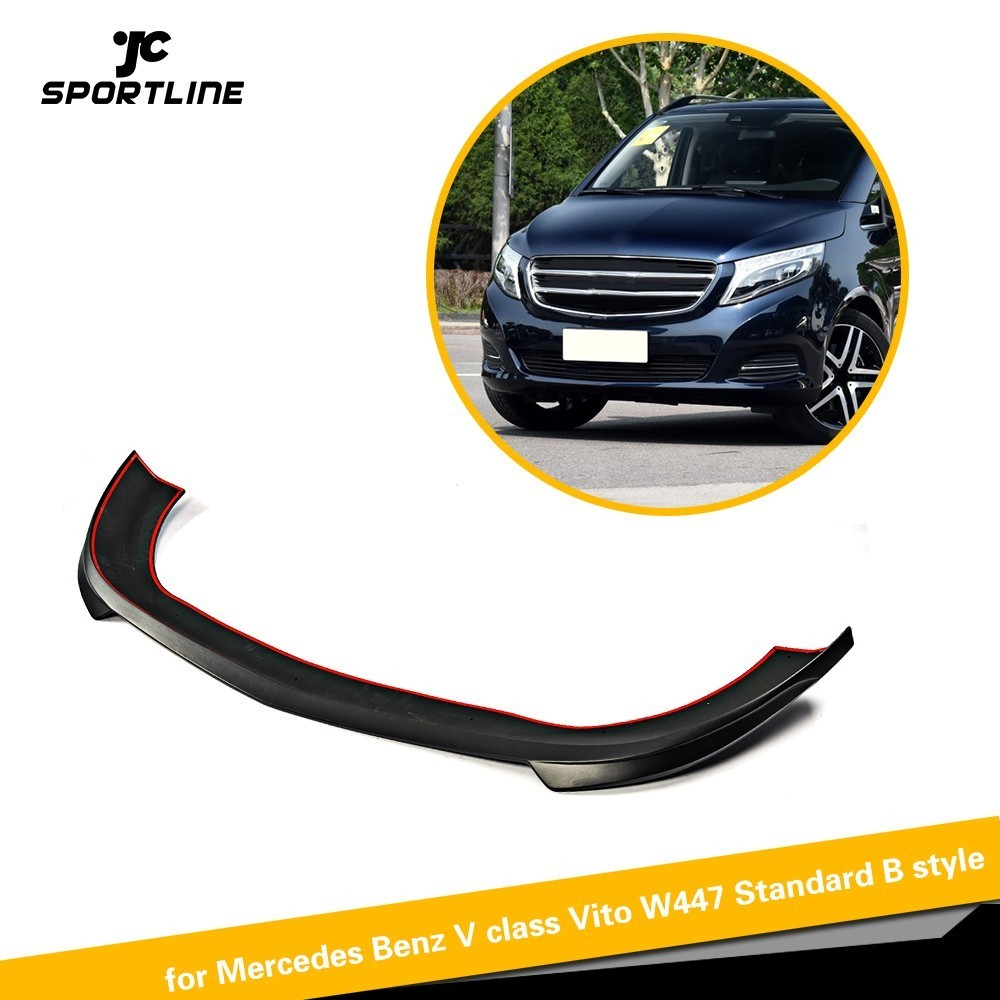 PU Front Bumper Lip Spoiler Chin Protector Guard for Mercedes Benz V class Vito W447 Standard Bumper B style 2016 2017 2018 pu grey front lip chin spoiler bumper guard for volkswagon vw golf 4 iv mk4 standard 1998 2004 non gti car styling