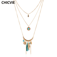 CHICVIE Blue Crystal Bead Gold Color Necklace Multi Layer Statement Necklaces Pendants Women Summer Trending Jewelry SNE160037
