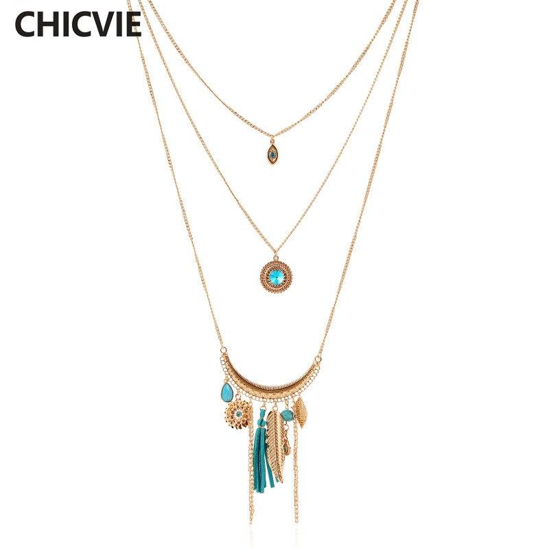 Купить chicvie синие кристальные бусины золотого цвета многослойное