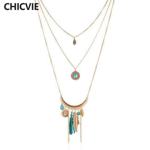 Chicvie синие Кристальные бусины золотого цвета многослойное