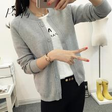 hot sale fashion casual women spring autumn cardigan long sleeve short knitted cardigan    sweaters