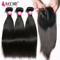 SAY ME Peruvian Hair Bundles With Lace Closure Straight Human Hair Weave 3 Bundles With Closure
