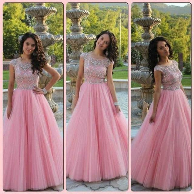 2015 nueva manga del casquillo de tul Prom vestidos vestido rosa ...