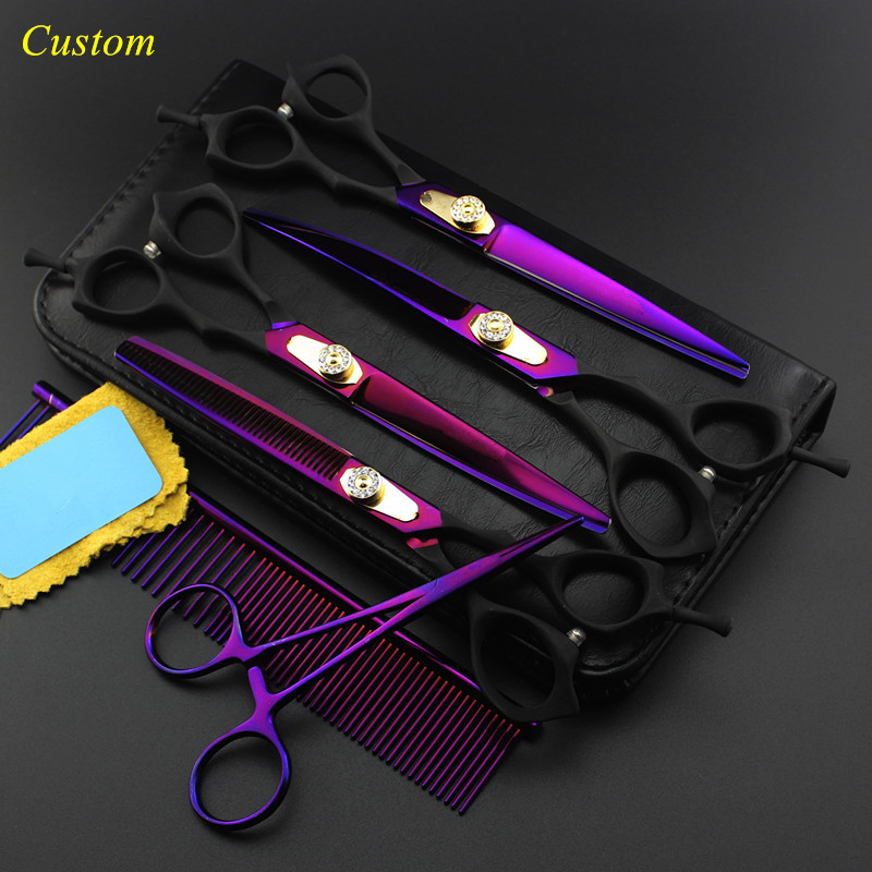 Custom 6 kit japan steel 7 inch voilet Pet dog grooming hair scissors cutting shears thinning barber hairdressing scissors set purple dragon 7 5 inch tail handle with pink rhinestones pet shears professinal high quality steel pet cat dog grooming supplies