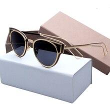 Vintage Sunglasses Women Cat Eye Sun Glasses Famous Lady Brand Designer Sunglasses Coating Mirror Glasses UV400 Lens Hot 8021